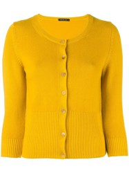 Samantha Sung 'Nathalie' Ribbed Hem Cardigan Yellow Orange