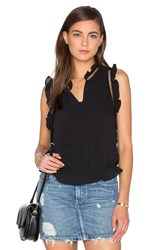 J.O.A. Ruffle Sleeveless Front Keyhole Top Black