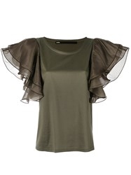 Muller Of Yoshiokubo Ruffle Sleeve Blouse Women Cotton Lyocell 40 Green