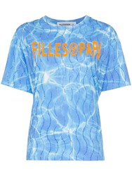 Filles A Papa Splash Logo Print Crystal Embellished Cotton Blue