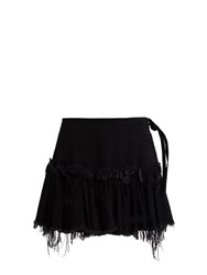 Marques Almeida Frayed Edge Ruffled Hem Denim Mini Skirt Black