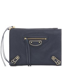 Balenciaga Classic Metallic Edge Pouch Leather Clutch Blue