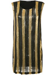 Balmain Striped Dress Women Polyamide Spandex Elastane Viscose Brass 38 Black