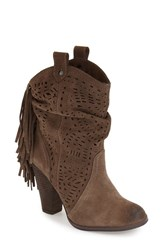 Women's Naughty Monkey 'Love Lace Cutout' Fringe Boot Taupe Suede