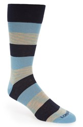 Lorenzo Uomo Rugby Stripe Socks Light Blue