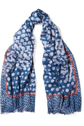 Marc By Marc Jacobs Lynne Printed Metallic Jacquard Scarf Blue