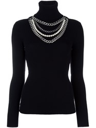 Moschino Pearl And Chain Embellished Jumper Black