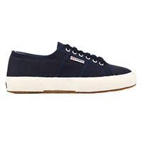 Superga 2750 Flat Lace Up Trainers Navy Cotton