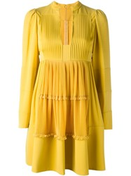 Valentino Pleated A Line Dress Yellow And Orange