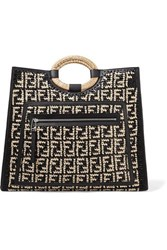 Fendi Runaway Large Leather Trimmed Woven Raffia Tote Black