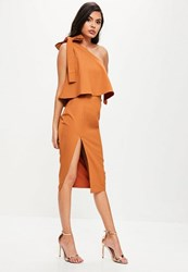 Missguided Orange One Shoulder Bow Sleeve Midi Dress Brown