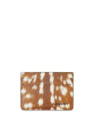 Burberry Deer Print Leather Card Case Brown