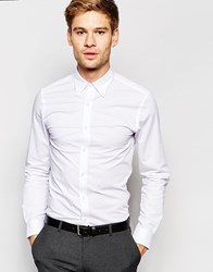 Selected Homme Shirt With Button Down Collar And Stretch In Skinny Fit White