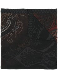 Etro Ombre Print Scarf Men Silk Wool One Size Black