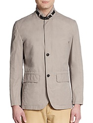 Cole Haan Button Front Cotton And Nylon Jacket Cement
