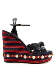 Gucci Pearl Embellished Leather Wedge Sandals Navy