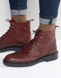 Walk London Liverpool Leather Lace Up Boots Red