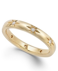 Star By Marchesa Diamond Star Wedding Band In 18K Gold 1 8 Ct. T.W. Yellow Gold
