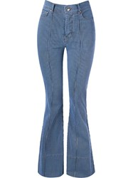 Amapo Stripped High Waist Flared Jeans Blue