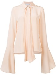 Nellie Partow Flare Sleeve Bow Blouse Pink Purple