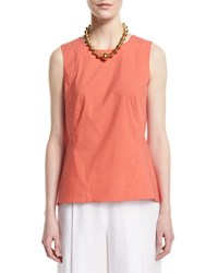Lafayette 148 New York Malina Sleeveless Pleated Back Blouse Daybreak