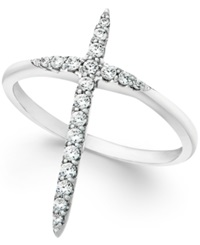 Macy's Wrapped Diamond Extended Cross Ring In 10K White Gold 1 4 Ct. T.W