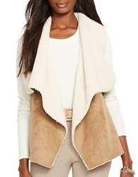 Lauren Ralph Lauren Faux Fur And Faux Suede Vest Brown