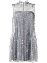 Red Valentino Woman Tullepleated Mini Dress Grey