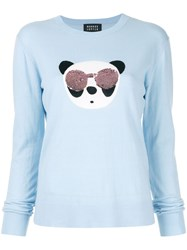 Markus Lupfer Tracy Panda Sequin Sweater Blue