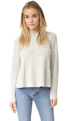 Rebecca Taylor Swing Ribbed Sweater Light Heather Grey