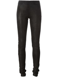Rick Owens Stretch Leather Leggings Black