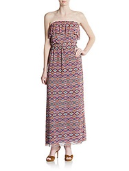Sweet Pea Strapless Diamond Print Maxi Dress