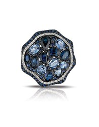 Marco Moore Sapphire Diamond And 14K White Gold Cocktail Ring Blue