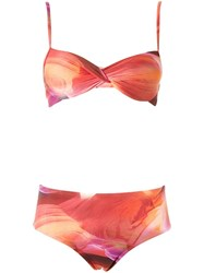 Lygia And Nanny Printed Bandeau Bikini Set Yellow Orange