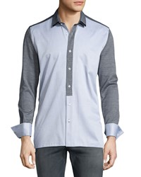 Bon Vivan Colorblock Knit Paneled Long Sleeve Sport Shirt W Leather Trim Gray Men's