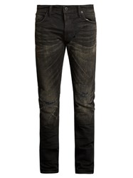 Mastercraft Union Slim Tapered Leg Distressed Knee Jeans Black