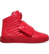 Versace Medusa Padded Leather High Top Trainers Red
