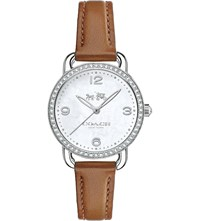 Coach 14502485 Delancey Leather And Mother Of Pearl Watch