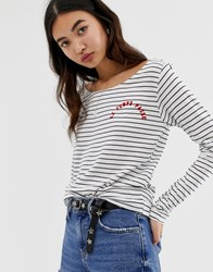 Maison Scotch Striped Long Sleeved T White