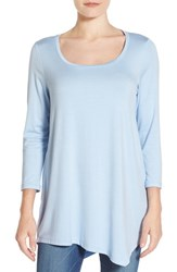 Nydj Women's 'Leah' Three Quarter Sleeve Asymmetrical Hem Tee Infinity Blue