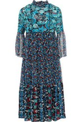 Anna Sui Gathered Printed Jacquard And Georgette Midi Dress Blue