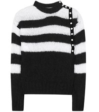 Philosophy Di Lorenzo Serafini Striped Mohair Blend Knitted Sweater Black