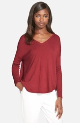 Trouve Women's Trouve 'Everyday' V Neck Sweater Red Chili Heather