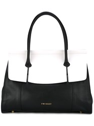Twin Set Large Contrast Tote Black