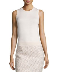 Oscar De La Renta Sleeveless Wool Silk Shell Light Pink