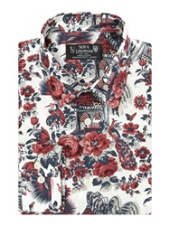 New And Lingwood Verain Floral Print Shirt White