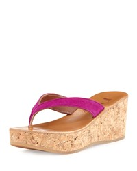 Diorite Fuchsia Suede Cork Wedge Thong Sandal K. Jacques Bright Dark Pink
