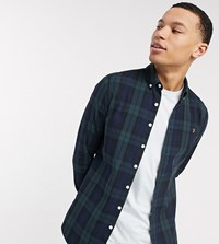 Farah Brewer Slim Fit Check Shirt In Blackwatch Green