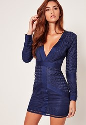 Missguided Navy Lace Plunge Bodycon Dress