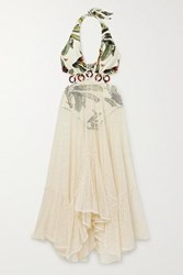 Patbo Cutout Printed Stretch Jersey And Cotton Blend Mesh Maxi Dress Off White